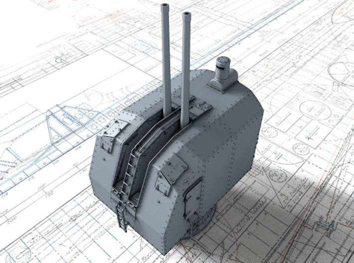 "1/150 French Navy 100mm/45 (3.9"") CAD Mle 1937 x3 3d printed 3d render showing barrels at 90º elevation"