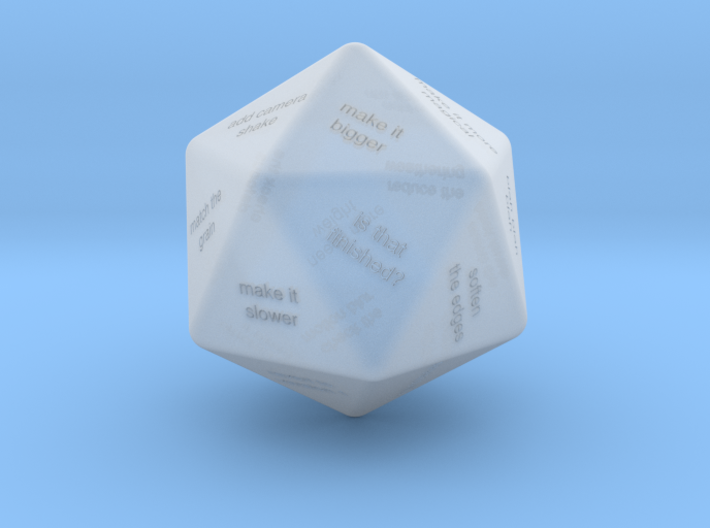 VFX Supervisor D20 Feedback Dice 3d printed