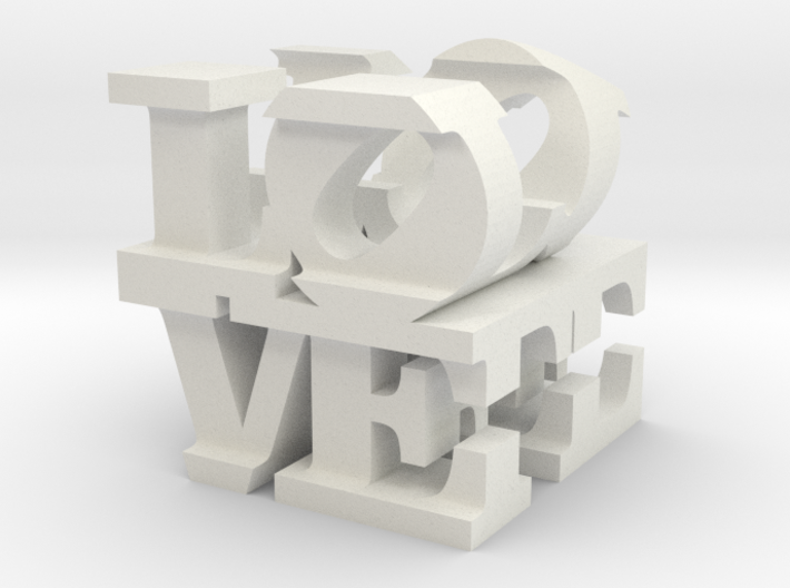 "love/life - small (1"") 3d printed"