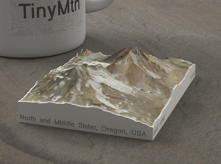 North and Middle Sister, Oregon, USA, 1:50000 3d printed