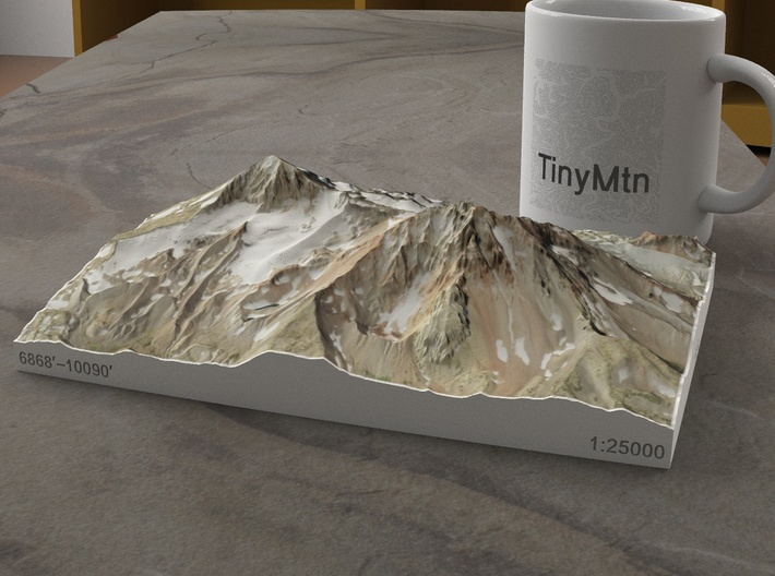 North and Middle Sister, Oregon, USA, 1:25000 3d printed