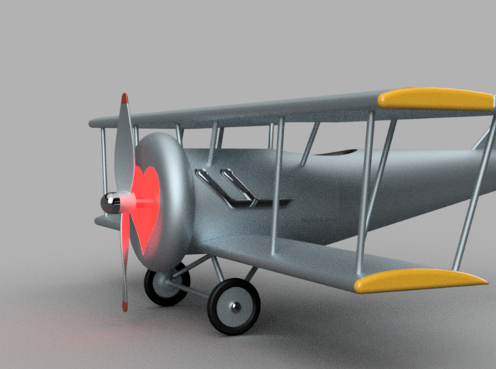 Biplane with Heart (Unpainted) 3d printed