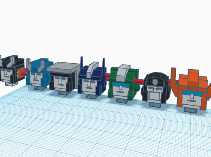 Heads for Trainbot Kreons (Set 2 of 2) 3d printed Design in color