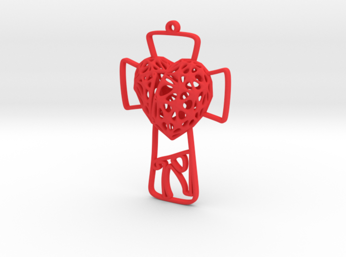 Voronoi Heart + Cross Earring (001) 3d printed