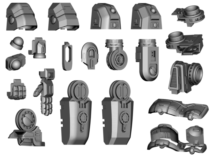 Stormwave - Arms for Two Handed Weapon 3d printed All Stormwave parts (showing style versions)