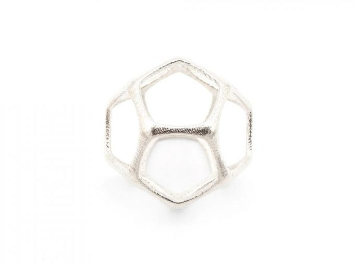 Dodecahedron Pendant - Platonic Solids 3d printed Dodecahedron Pendant - Silver