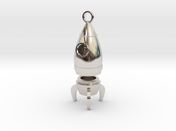 Bitcoin Rocket Pendant -- Type - 1B 3d printed