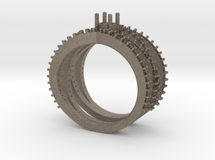 Spiral Ring with Gemstone 3d printed