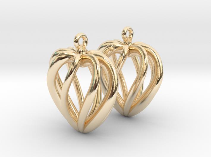 Heart Cage Earrings 3d printed