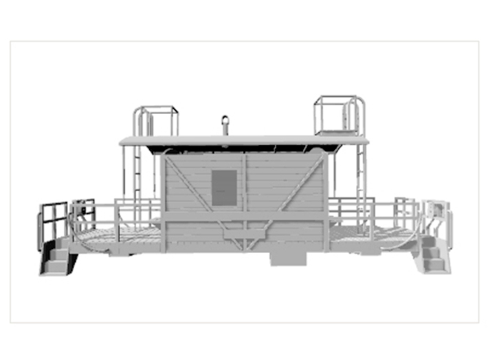 HO A&S Transfer Caboose 1949 3d printed This is a side view in Shapeways rendering.
