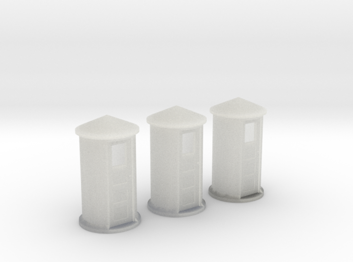 N-Scale SP Concrete Phone Booth 3-Pack 3d printed Shapeways Rendering