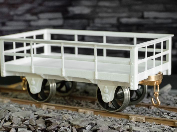 FRB13 Festiniog Railway 3 Ton Slate Wagon Body 3d printed With Couplings, Axleboxes and wheels added.