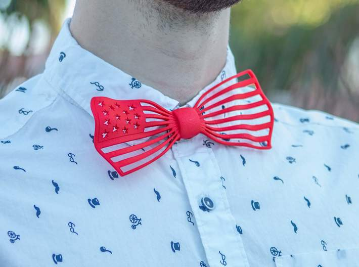 The Flag Bow Tie 3d printed Up close with the beautiful red Flag