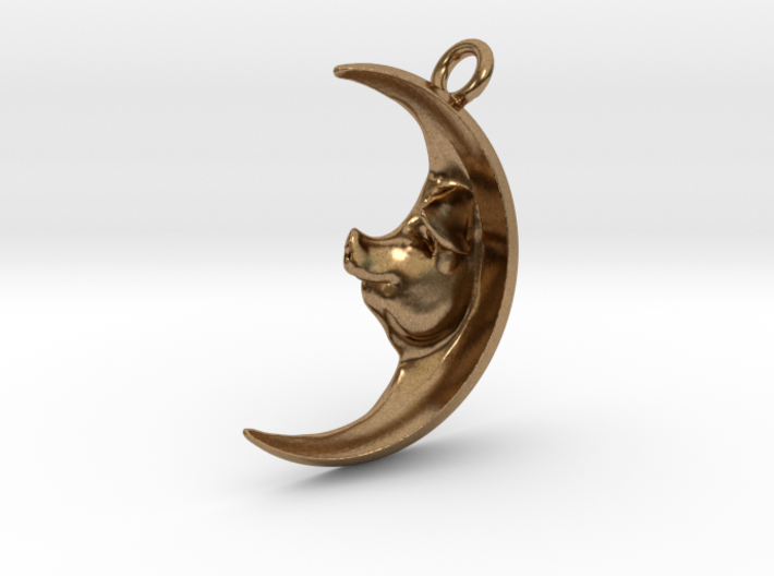 Pig in the Moon Pendant 3d printed