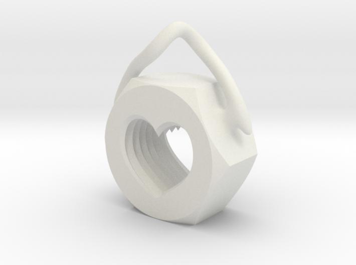 Heart Nut Pendant 3d printed