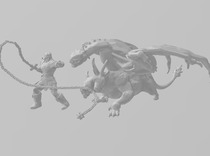 Chimera monster DnD miniature games rpg dungeons 3d printed