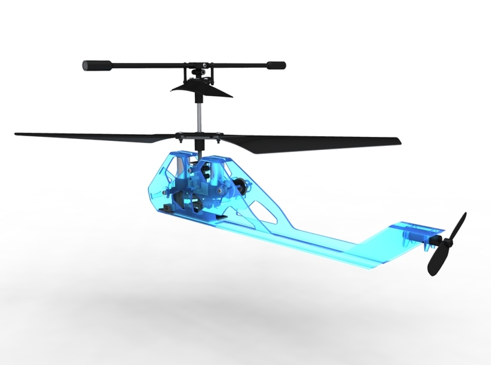 R/C Drone | X2 Helicopter | a Syma S107 Mod 3d printed Theoretical Translucent Blue Plastic Material Render - In Use shot - Rear