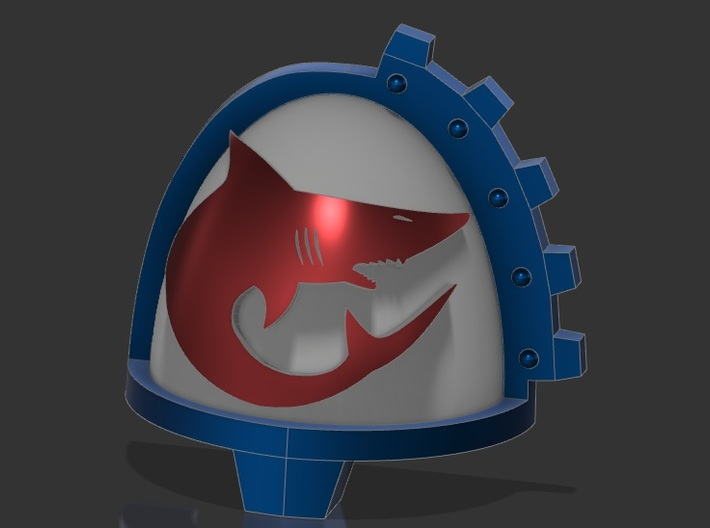 12x Shoulderpads - Carcharodon sharks - Geared - R 3d printed