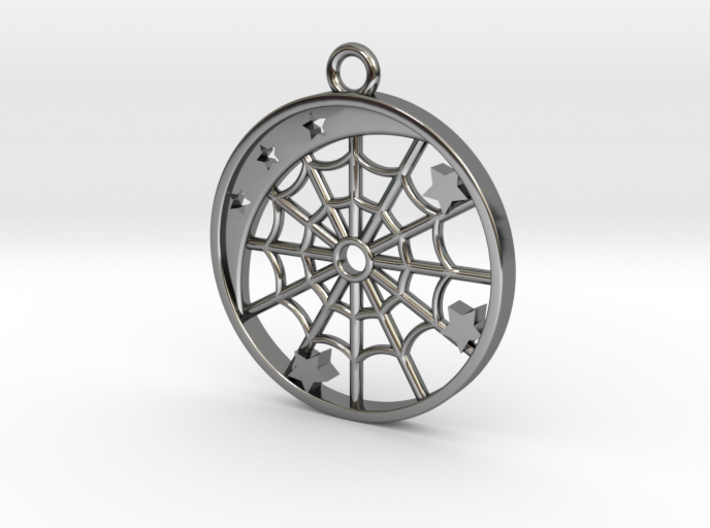 Moon, Stars and Spider Web Pendant 3d printed
