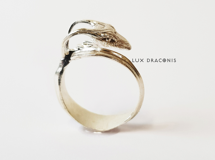 """LUX DRACONIS dragon ring """"The wicked winder"""" 3d printed dragon ring in  silver"""