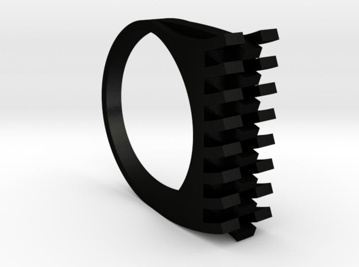Tri-Fold Edge Ring - US Ring Size 07 3d printed Matte Black Steel Rendering