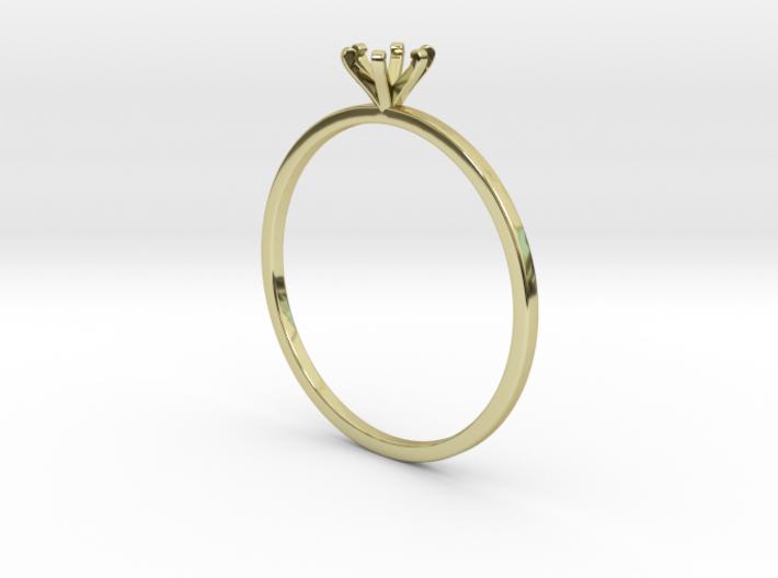Plain Size 7 Ring - 4mm Gem - 6 prong - v1 3d printed