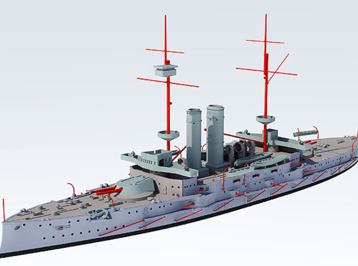 Battleship Canopus 3d printed Required scratch built parts  shown in red
