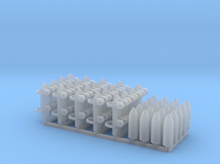 4 inch Shells and holders for P Boat gun deck 1/35 3d printed