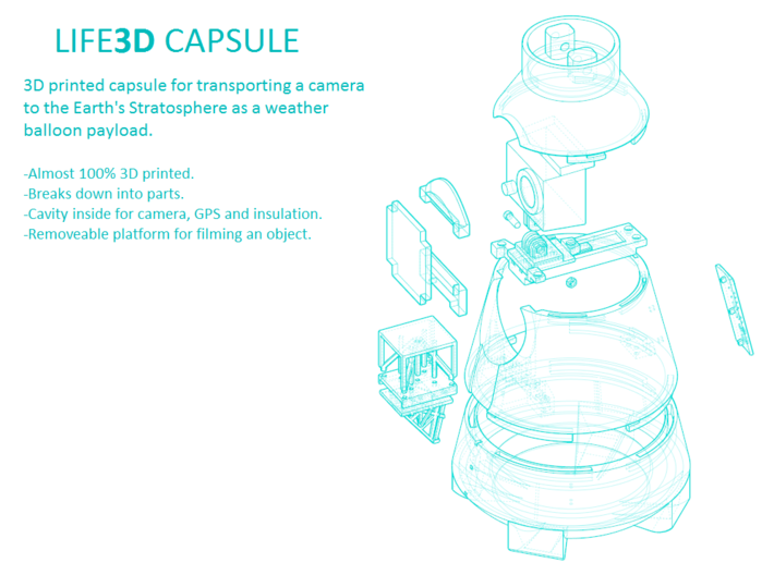 Life3D Weather Balloon Capsule - Camera Rail 3d printed Exploded View of All Parts