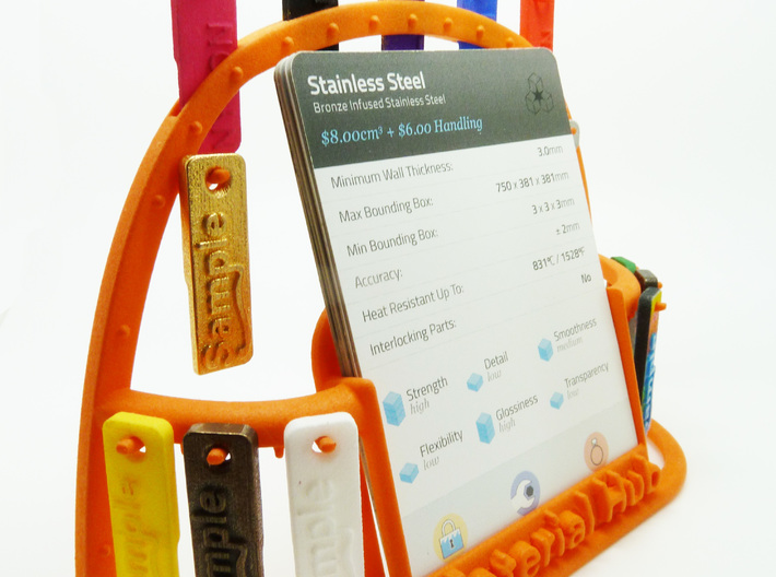 The Wireframe Hub - Material Sample Stand 3d printed Wireframe Hub in Orange Strong and Flexible