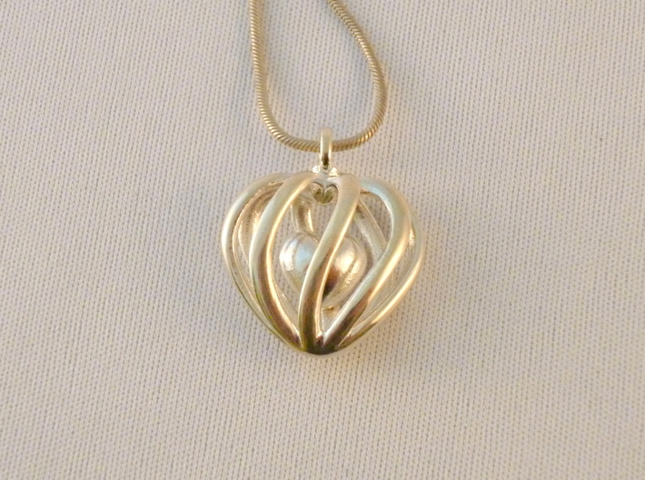 Heart Cage Pendant - Small, No Arrow 3d printed