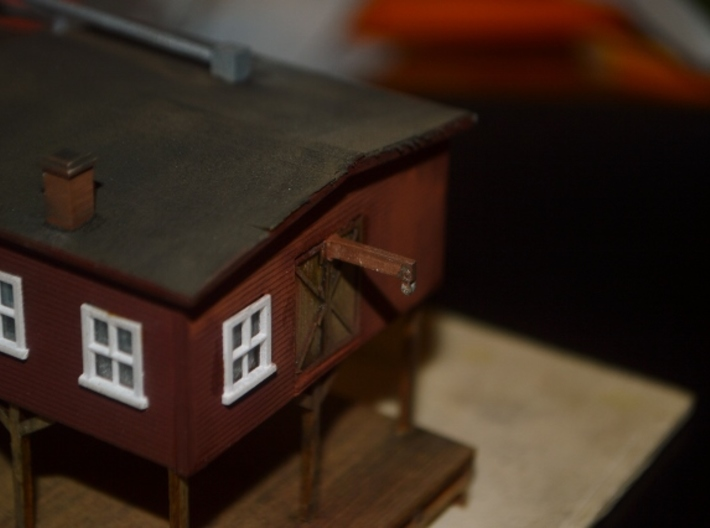 N-Scale Box & Crate Factory Details 3d printed Painted Production Sample - Beam Hoist
