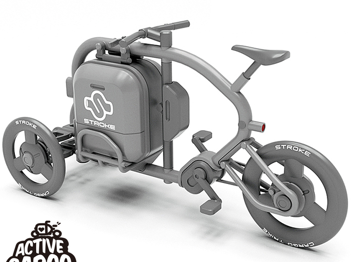 1/12 STROKE Cargo Trike: Wheel Set_A 3d printed This is a 3D data rendering. The frame, suspension and  cargo box are not included in this Wheel Set_A.