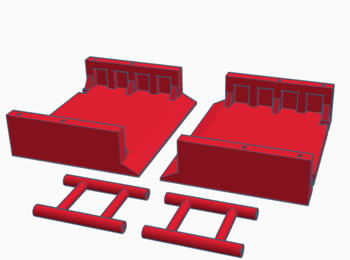 1:64 Manhole Trench box 3d printed Rendering of the unassembled trench box.