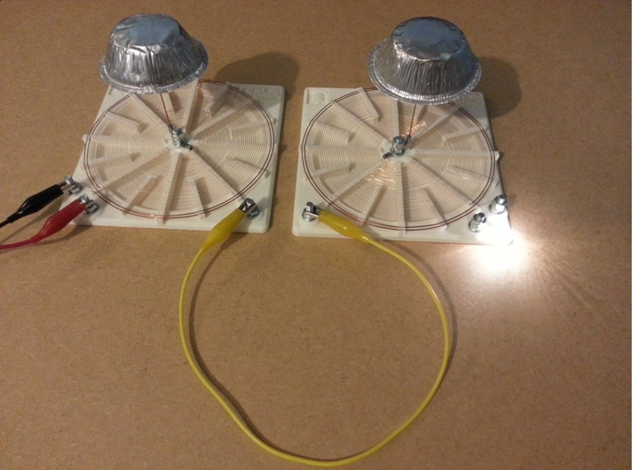 Tesla Flat Spiral Coil Base Set - 140mm 3d printed Coils A and B - Transmission through one wire