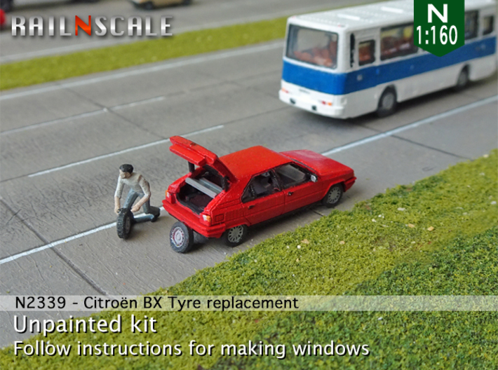Citroën BX tyre replacement (N 1:160) 3d printed