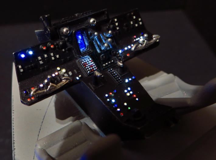 YT1300 DEAGO CABIN COCKPIT CONSOLE DRILLED 3d printed Main console lighted with fiber optics.