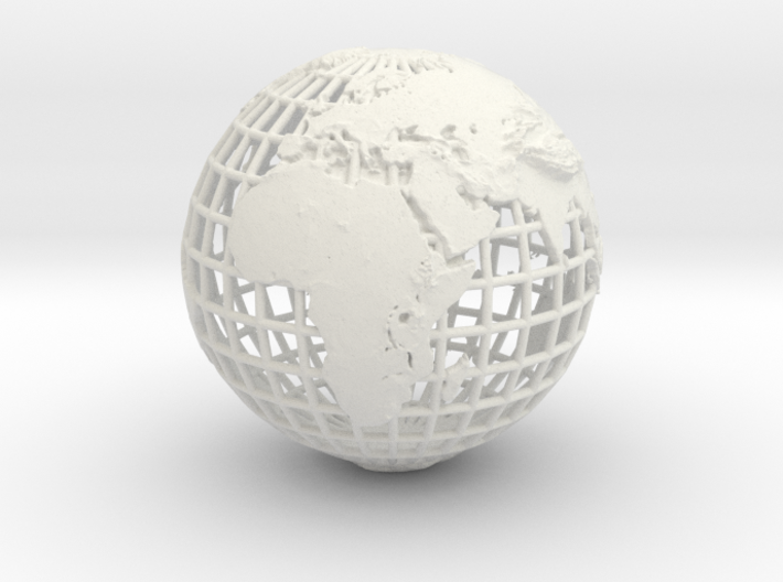 earth in mesh with relief 3d printed
