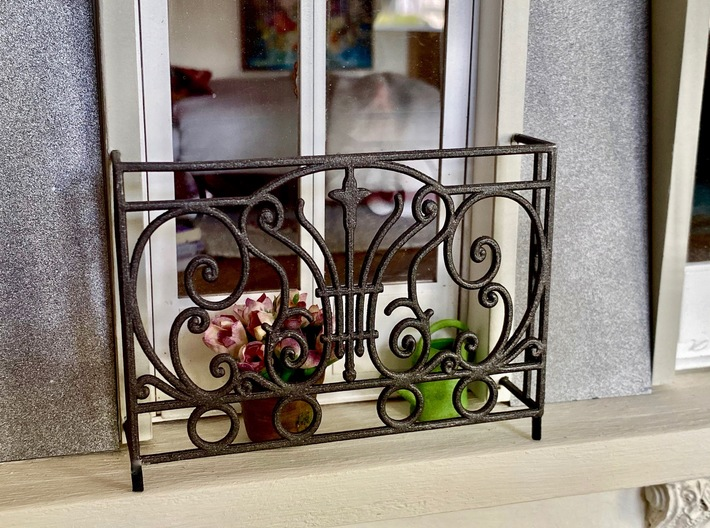 1:12 Balustrade, balcony, railing  French door 3d printed painted