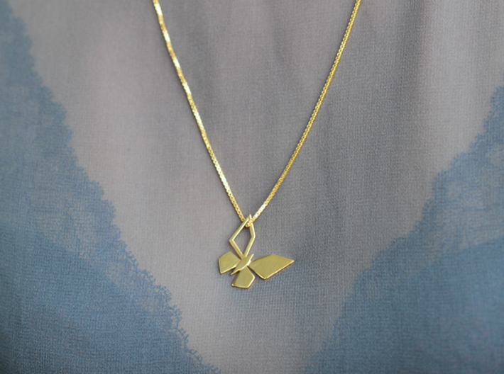 CPH BUTTERFLY PENDANT 3d printed CPH BUTTERFLY PENDANT, GOLD PLATED BRASS
