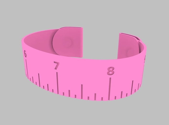 Loved Beyond Measure - Cuff Bracelet 3d printed Pink Strong & Flexible Polished Plastic Rendering