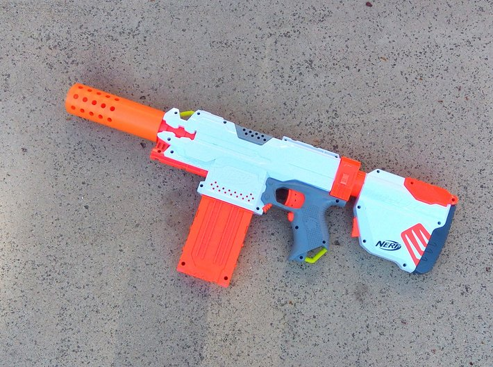 HMP Type I Muzzle (150mm) for Nerf Modulus 3d printed
