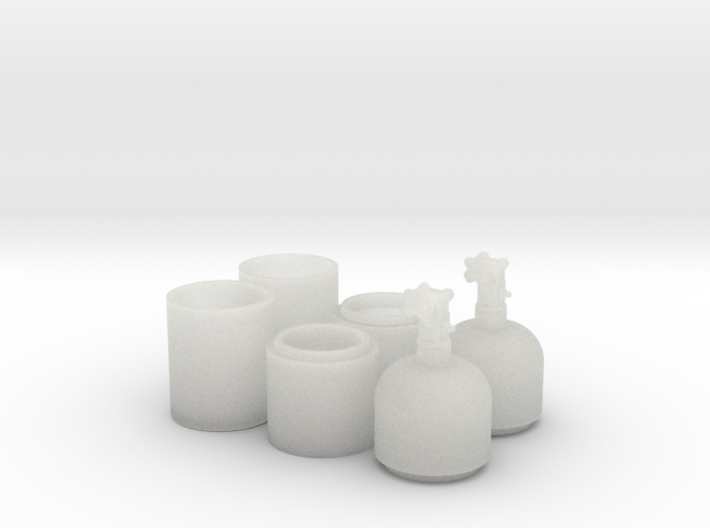 1/25 One Pair of Nitrous Bottles with Valves 3d printed