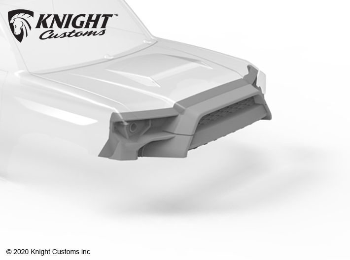 KCTR1006 4Runner Gen5 Grill Cut 3d printed Shown painted gray soles printed in white natural versatile plastic.
