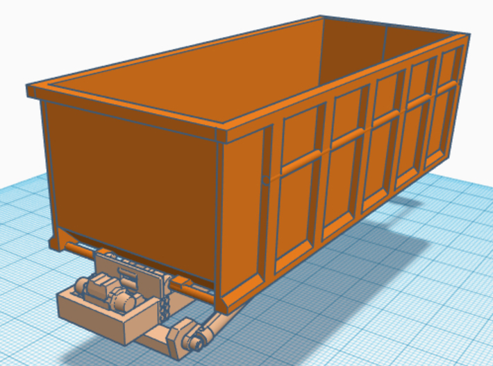 1/87th Roll Off Truck Body frame 3d printed shown with dumpster