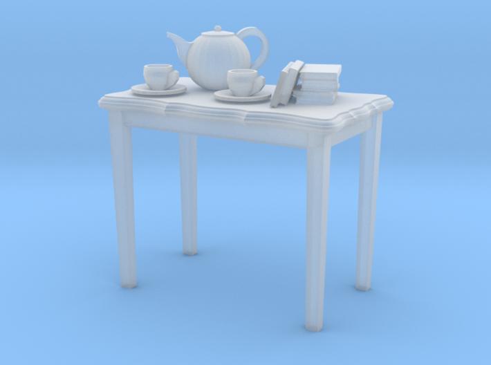 table tea pot books cups 3d printed