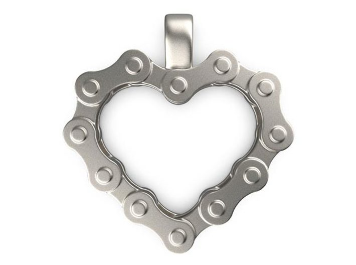 Bike Chain Heart Pendant 3d printed Front View