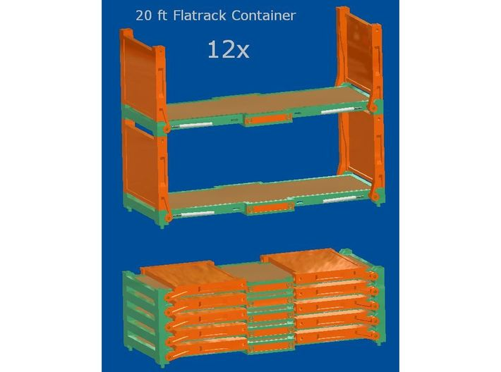 12x 20 ft Flatrack Container 3d printed