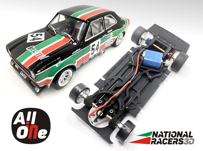 Chassi - BRM Ford Escort MK1 (AiO-Aw) 3d printed Chassis compatible with BRM model (slot car and other parts not included)
