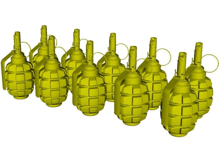 1/12 scale F-1 Soviet hand grenades x 10 3d printed